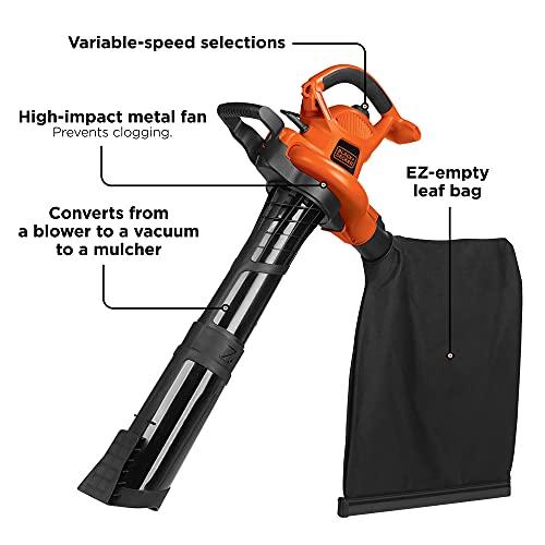 BLACK+DECKER 3-in-1 Electric Leaf Blower, Leaf Vacuum, Mulcher, 12-Amp (BV6600)