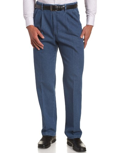 Haggar Men's Work To Weekend Hidden Expandable Waist Denim Pleat Front Pant,Light Stonewash,34x32
