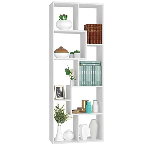 Homfa 160cm Bücherregal Regal Raumteiler Standregal Raumtrenner asymmetrisches Design Regalsystem weiß 60x24x160cm