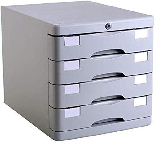 Archivadores Vertical 4 cajones Caja de almacenamiento de datos de escritorio Cerradura con llave Gabinete de oficina Plástico Gris 28.2 * 36.5 * 28.5cm Estantería para muebles de oficina en casa