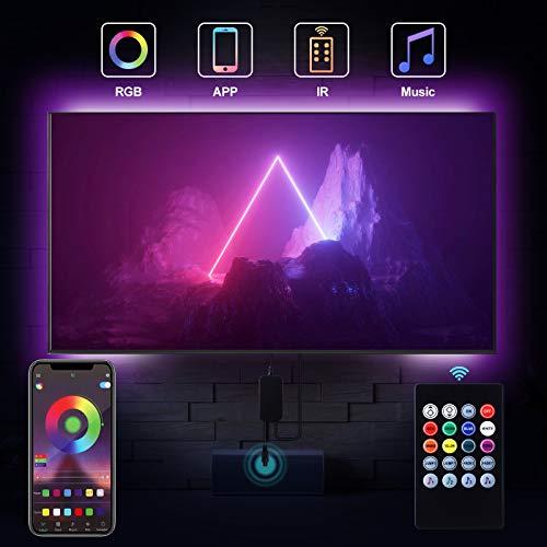 Bewahly LED TV Hintergrundbeleuchtung 2M, APP Steuerung USB LED Strip, Dimmbar RGB LED Streifen mit Fernbedienung, Fernseher Beleuchtung Lichtband Wasserdicht LED Band für 24-50 Zoll HDTV, PC-Monitor