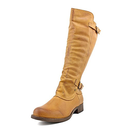 Rocket Dog Cato Women Round Toe Leather Knee High Boot (7.5, Tan Gold Rush Leather)