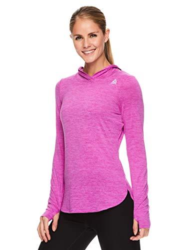 Reebok Women's Legend Running Hoodie & Gym Sweater - Lightweight Training & Workout Top for Women, Legend Fuchsia Shock Heather, Small