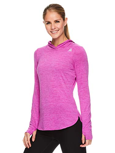 Reebok Women's Legend Running Hoodie & Gym Sweater - Lightweight Training & Workout Top for Women, Legend Fuchsia Shock Heather, Small