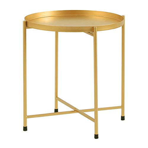 "Side Table Tray Metal End Table Round Foldable Accent Coffee Table for Living Room Bedroom(17.3""×20.5"") (L, Golden)"