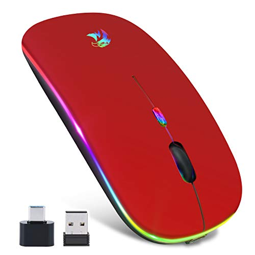 Ratón Bluetooth 5.1, Mouse Inalámbrico, Recargable 2.4G Portátil, Óptico, Móvil, de Oficina, Bluetooth 3.0, con USB y Type C Receptor, 3 DPI Ajustables para iPad, Portátil, PC, Portátil, Computadora