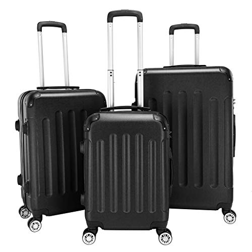 Carry-On 3 Piece Luggage Sets PC+ABS Glossy Luggage with TSA Lock Suitcase With Spinner Wheels Protection Angles, Extendable Handle, Suitcases Large Medium (20' 24' 28'),Gray