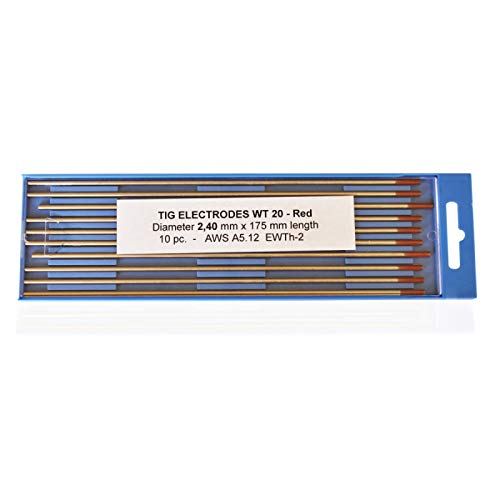 Electrodos de tungsteno torneados rojo WT20 2,4 x 175 mm.