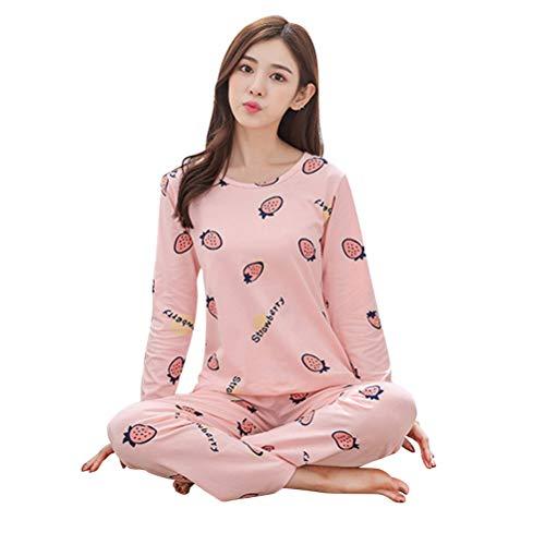 BESTOYARD Pyjama à Manches Longues de Dessin animé Ensemble Mignon Automne vêtements de Nuit Coton Loungewear Homewear Costume pour Femmes Taille L (Fraise)