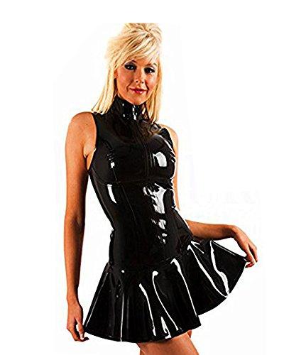 FASHION QUEEN Women's PVC Zip Front Mini Dress Black Clubwear (5XL, Black)