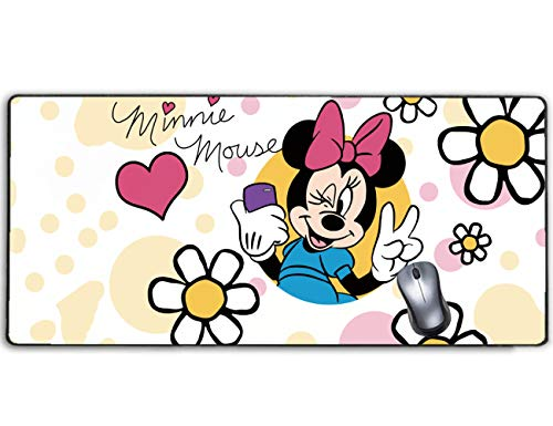 Extended Gaming Mouse Pad Disney Minnie Mouse Pink Heart and Flower,Stitched Edge and No-sliped Large Desk Mat, Mousepad for Game Computer Keyboard, PC and Laptop