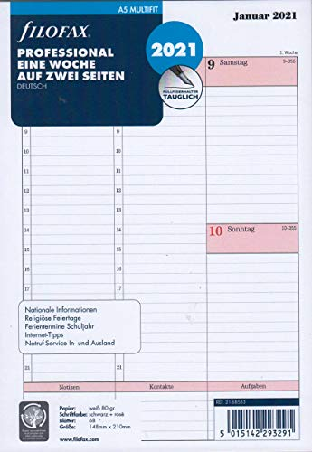Filofax 2021 A5 Kalender Wochenplaner 1Woche 2Seiten Kalendarium Professional Kalendereinlage 21-68553