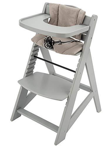 Moby System Woody Mitwachsender Kinderhochstuhl, Hochstuhl für Kinder, Höhenverstellbar, mit Essbrett und Kissen, 3-Punkt-Sicherheitsgurt, Massivholz, Grau