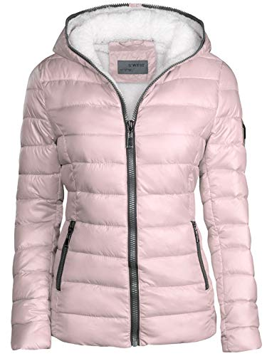 S'West Damen Winter Jacke GEFÜTTERT KURZ STEPP DAUNEN Optik Kapuze Skijacke WARM New, Farbe:Rosa, Größe:S