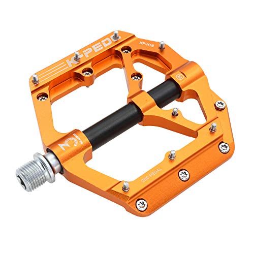 """K PEDC Mountain Bike Pedals3 Sealed Bearings Ultra Strong Colorful Cr-Mo Aluminum Alloy CNC Machined 9/16"""" Non-Slip for Road BMX MTB Fixie Bikes"""