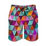 QUEMIN Pantaloncini da Spiaggia da Uomo con Coulisse, Costume da Bagno a Triangolo e ombrellone con Fodera in Rete ad Asciugatura Rapida e Tasche, XL
