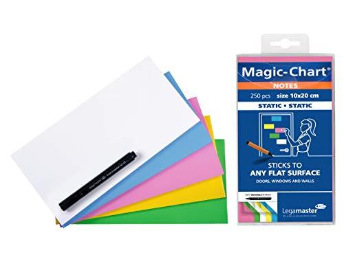 Legamaster 7-159494 Magic-Chart Notes, elektrostatische Haftnotizen, 10 x 20 cm, 250 Blatt, sortiert