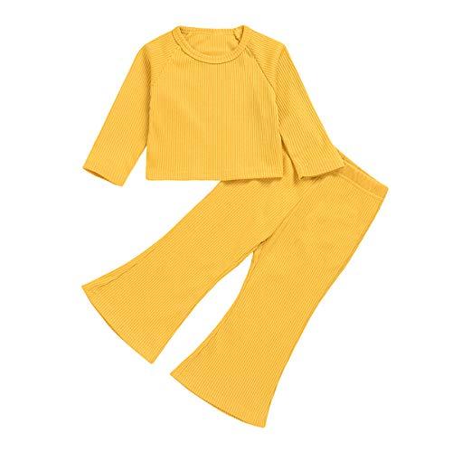 Tianhaik 1-6t niños niña Traje sólido Camisa de Manga Larga con Cuello Redondo + Pantalones Acampanados Conjunto de Ropa de otoño
