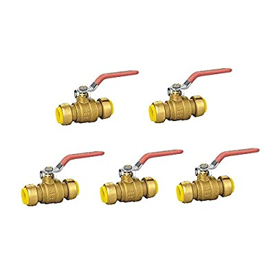 AB 1/2 inch Brass Push-to-Connect Ball Valve, Lead Free Water Shut Off Valve Used with Copper pipe, CPVC and PEX (5-Pack) from AB