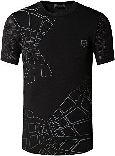 jeansian Herren Sportswear Quick Dry Short Sleeve T-Shirt LSL017_Black L