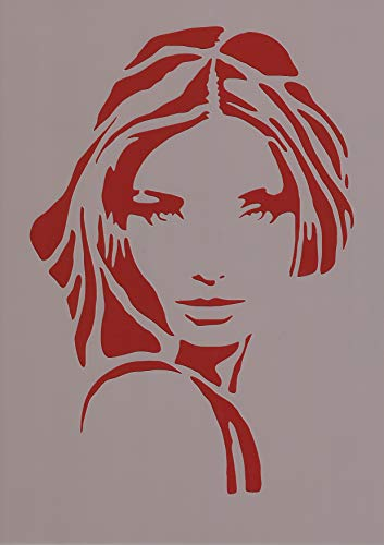 Art Life Schablone zum Malen und Zeichnen A4, 21 x 29 cm, Stencil, wiederverwendbar, Motiv Frau, Modern, Modisch, Model