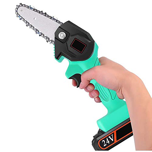 Electric Pruning Saws for Tree Trimming, Mini Electric Chain Saw Professional Cordless Electric Pruning Shears Rechargeable 24V Lithium Battery Powered Tree Branch Pruner Garden Tool and Chain