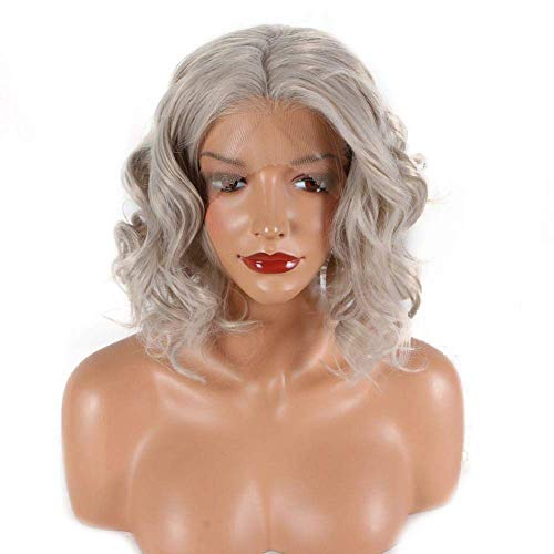 IREANJ Peluca de encaje sintético corto gris peluca delantera (color: gris)