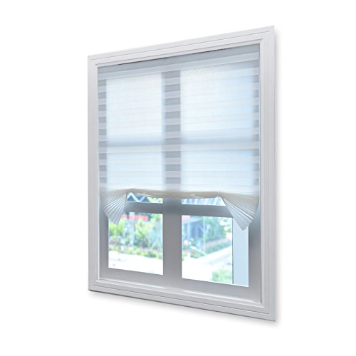 Acholo Pleated Fabric Shades Temporary Cordless Blinds Light Filtering for Windows (6-Pack, White 36 x 72 Inch)