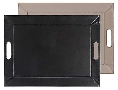 Freeform FFTM1759 Plateau, Simili Cuir, Noir/Taupe, 55 x 41 cm