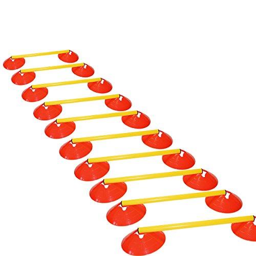 athletikor Hürdenset - 10 Stangen a 50 cm - 20 Muldenhauben