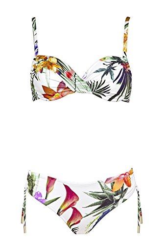 Maryan Mehlhorn, Bikini-Set, Oberteil ungefüttert mit Bügel, Bikini-Slip mit Variabler Seitenhöhe, Greenhouse 5520 Dess. 613 (36D, Weiss (10))