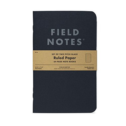 Field Notes 2-Pack Pitch Black Notebooks (4.75' X 7.5'), Ruled, 64 Pages | Thin Pocket Sized EDC Notebook With 90 GSM Paper & Paperback Cover | Work Notebooks For Note Taking | Made in the USA