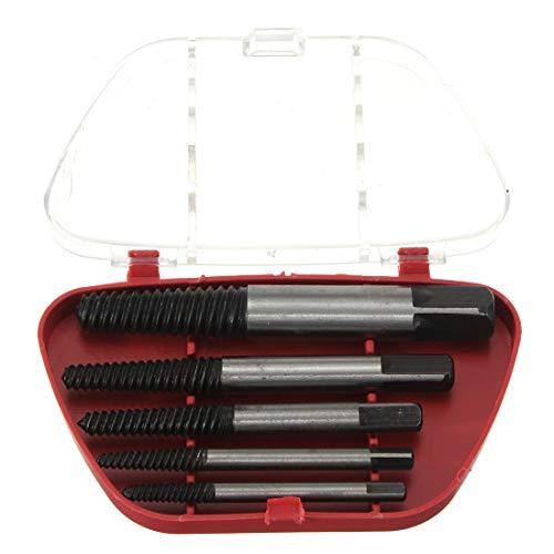 QIEP Juego de 5 brocas de extracción de tornillos fáciles de salir, kit de herramientas de extracción de tornillos dañados con caja de almacenamiento de plástico
