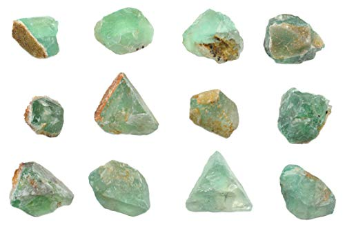 12PK Raw Fluorite, Mineral Specimens - Approx. 1' - Geologist Selected & Hand Processed - Great for Science Classrooms - Class Pack - Eisco Labs