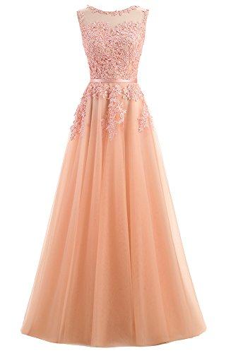 Ever Love A-Linie Lang Spitze T¨¹ll R¨¹ckenfrei Abendkleid Ballkleid Hochzeit Brautjungfernkleid mit Träger-Farbe: Bildfarbe, Gr. 52