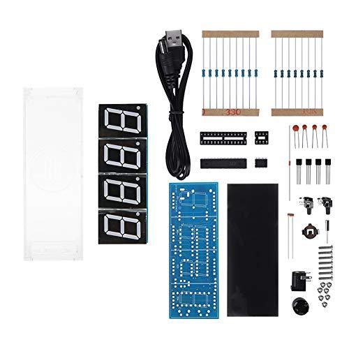 Kit de bricolaje de reloj electrónico, 4 dígitos ABS LED Control en tiempo real Pantalla automática de hora/temperatura/fecha Kit de reloj digital LED de bricolaje(rojo)