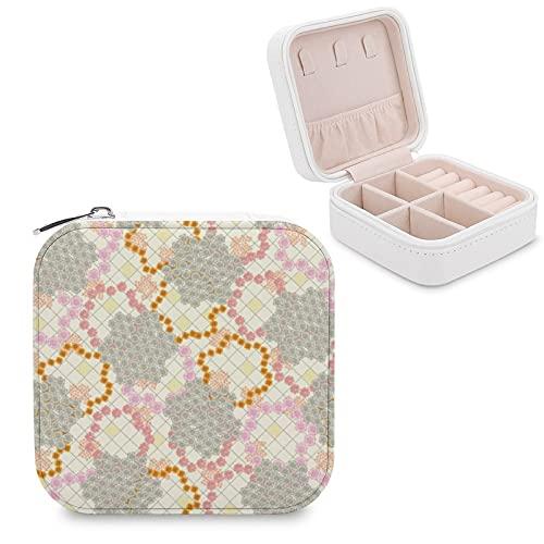 Caja de joyería de ganchillo de margarita de verano pequeña caja de joyería de almacenamiento, anillos, pendientes, collar organizador de piel sintética para mujeres y niñas