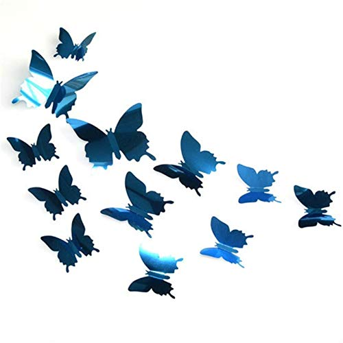 UYQKL 24PCS Mirror Mirror Wall Sticker Decal 3D Wall Art Butterfly Home Wedding Party Colors Butterfly Fridge In The Sale Of Wall Decals (Color : Blue, Size : 24Pcs)