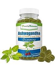 Power By Naturals - Ashwagandha Gummies with Vitamin D and Zinc for Natural Stress - 60 Vegan Tart Cherry Gummy Ashwa Vitamin