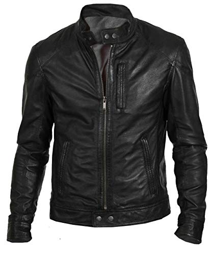Zamish Leather Men's Hunt Black Classic Fashion Biker Jacket in Lambskin Leather (S)