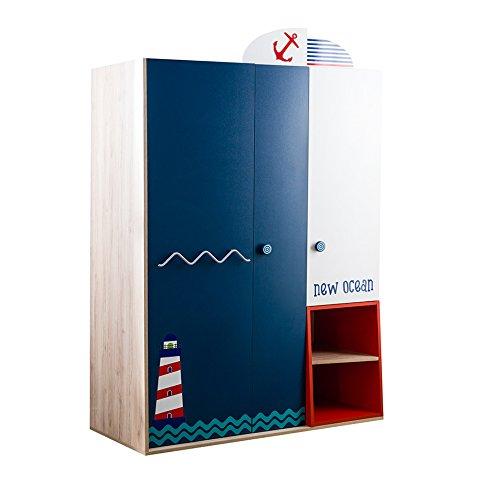 Babyzimmer, Babymöbel, Kinderzimmermöbel, Kinderzimmer, Möbel, Kombination:New Ocean Kleiderschrank - blau