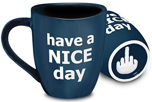Decodyne Have a Nice Day Coffee Mug, Funny Cup with Middle Finger on the Bottom 14 oz. (Blue)