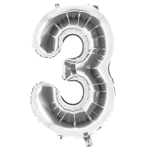 Party Factory XXL Folienballon Zahl 3, Luftballon 100cm, silber, Geburtstag, Abi, Jubiläum, Party Ballon, Heliumballon, Deko