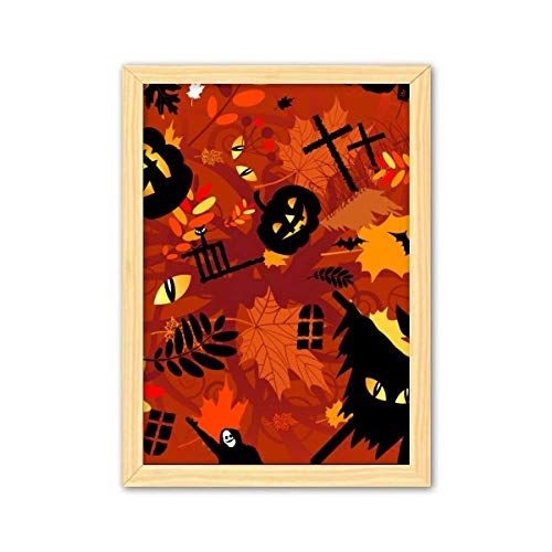 Cartoon Deep Forest Halloween Decorative Wooden Painting Home Decoration Picture Frame A4