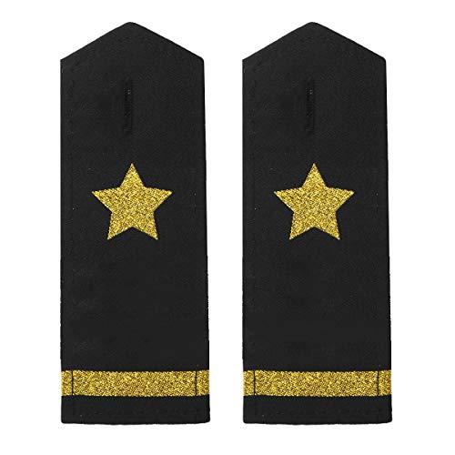 ranrann Unisex Uniform Epaulets Schulterklappen mit Gold/Silber Stern Streifen Traditionelle Pilot Kapitän Kostüm Accessoire Schwarz&Gold_1 Streifen One Size
