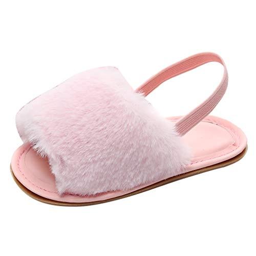 WEXCV Baby Unisex Mädchen Jungen Fluff Hausschuhe Sommer Süß Einzelne Anti-Rutsch Kleinkind-Schuhe Lauflernschuhe Casual Weiche Sohle für 0-39 Monate