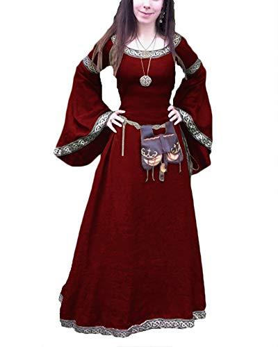 Mujeres Renacimiento Medieval De Manga Larga Boho Vestido De Damas De Noche Party Maxi Vestido Largo Rojo S