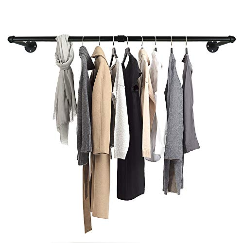 GeilSpace Industrial Pipe Clothes Hanging Bar WallMounted Clothes Rack Garment Rack SpaceSaving Holds up to 50lb Easy Assembly Black 60 Inch