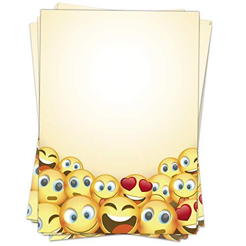50 Blatt Briefpapier Motiv Smiley, Emoji, gelb/beidseitig bedruckt/DIN A4 90 g Papier/witzig/lustiges Papier/für Angebote/Kinder, Jungs und Mädchen/für Kinder, auch zum Basteln