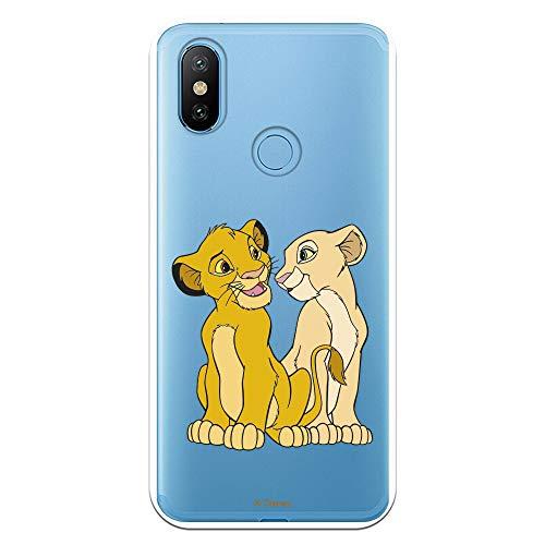 Funda para Xiaomi MI A2 - Mi 6X Oficial de El Rey León Simba y Nala Silueta para Proteger tu móvil. Carcasa para Xiaomi de Silicona Flexible...